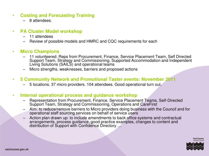 Costing and Forecasting Training