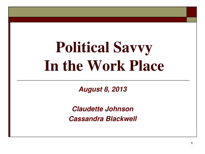 political savvy in the work place n.