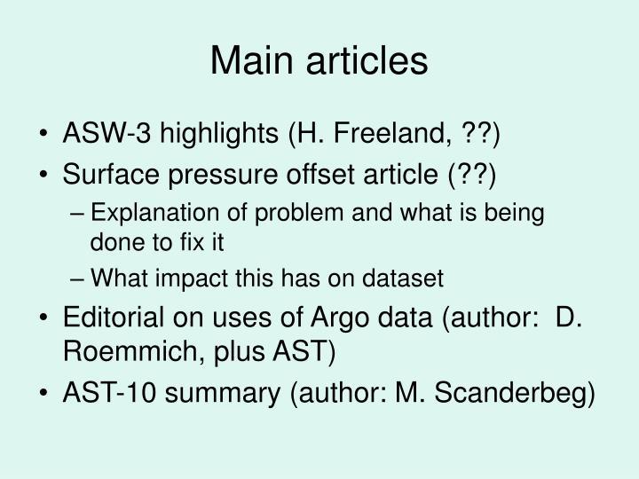 Main articles