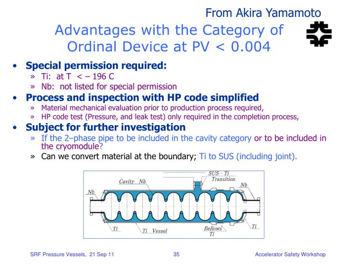 Advantages with the Category of Ordinal Device at PV < 0.004
