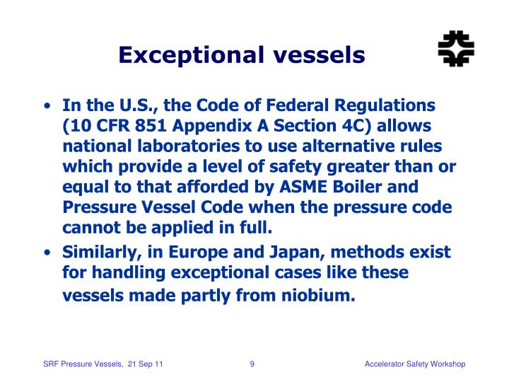 Exceptional vessels