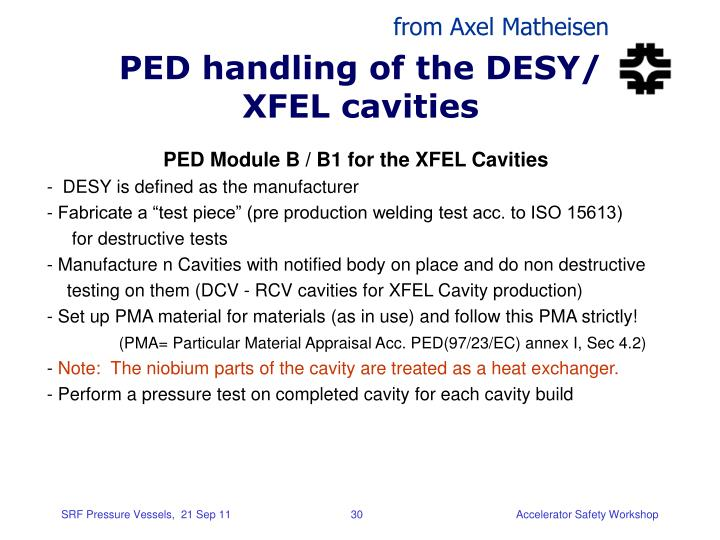PED handling of the DESY/ XFEL cavities