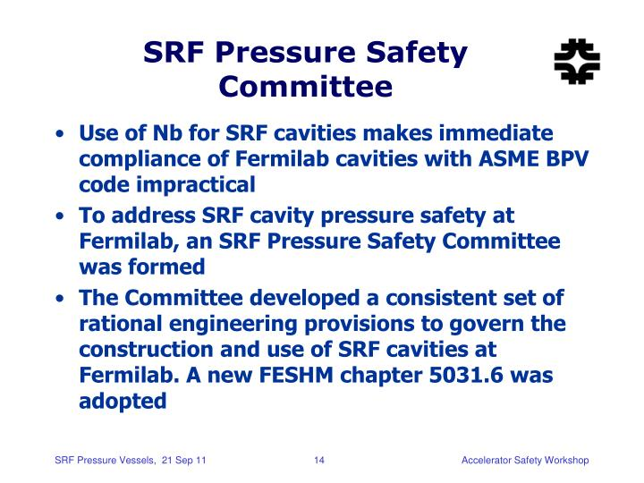SRF Pressure Safety Committee