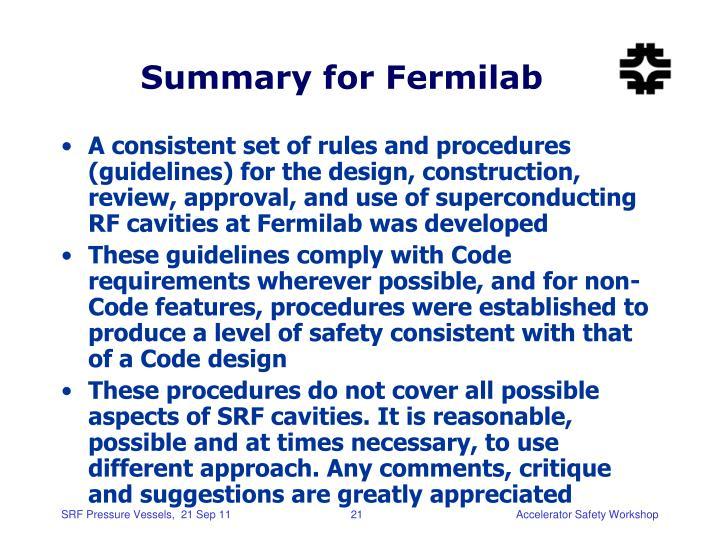 Summary for Fermilab