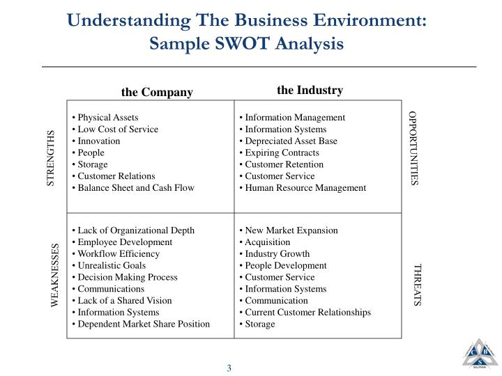 Understanding the business environment sample swot analysis