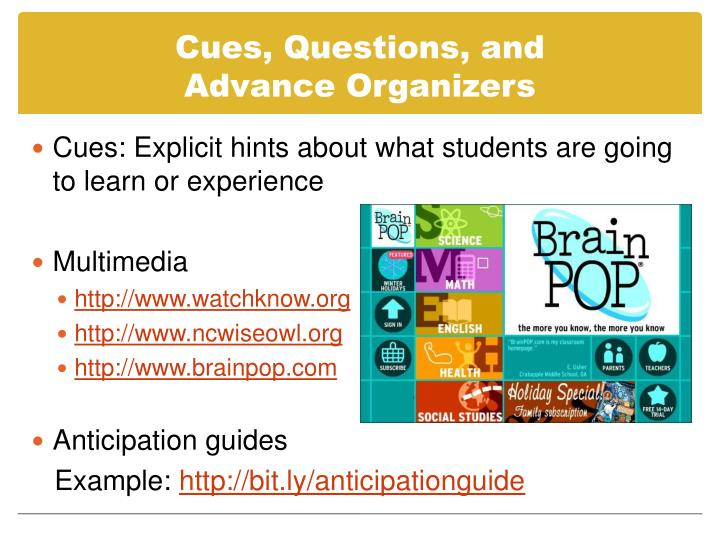 Cues, Questions, and