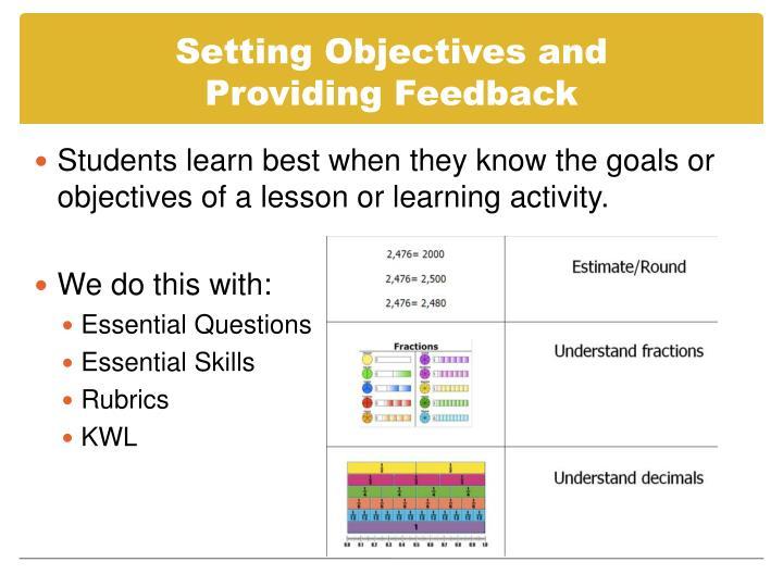 Setting Objectives and           Providing Feedback