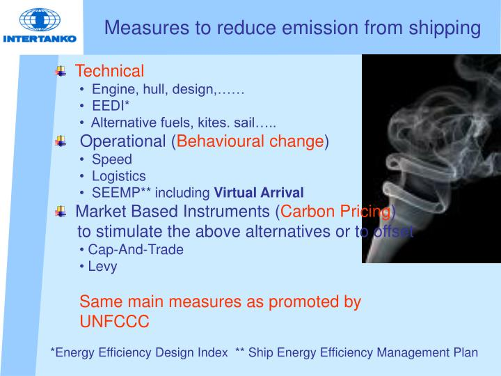 Measures to reduce emission from shipping