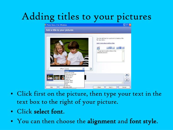 Adding titles to your pictures