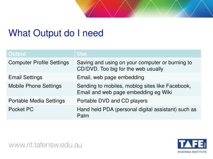 What Output do I need