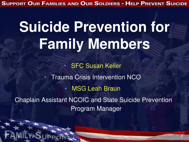 suicide prevention for family members n.