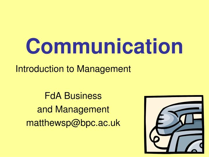 introduction to management fda business and management matthewsp@bpc ac uk n.