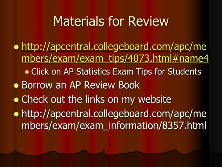 Materials for Review