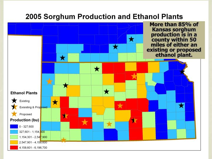 More than 85% of Kansas sorghum production is in a county within 50 miles of either an existing or proposed ethanol plant.