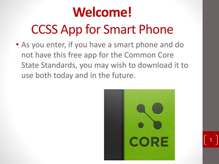 welcome ccss app for smart phone n.