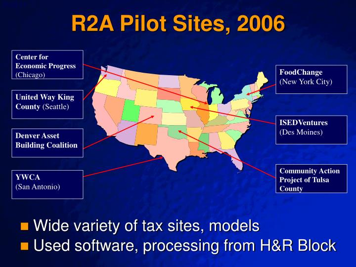 R2A Pilot Sites, 2006