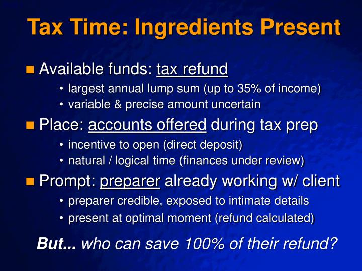 Tax Time: Ingredients Present