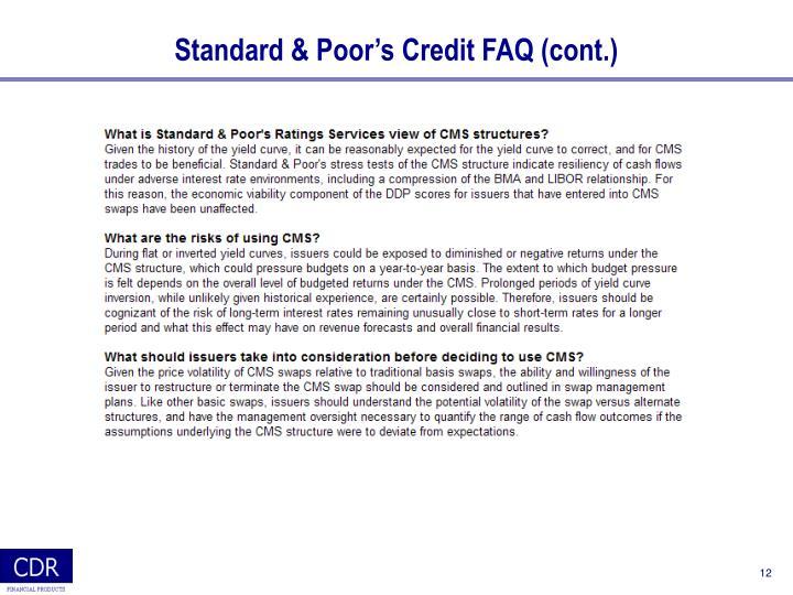 Standard & Poor's Credit FAQ (cont.)
