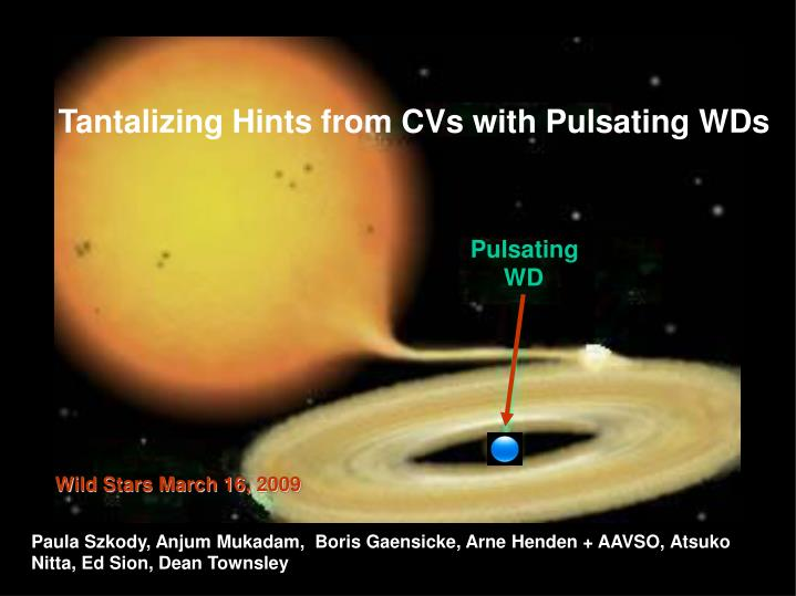 tantalizing hints from cvs with pulsating wds n.