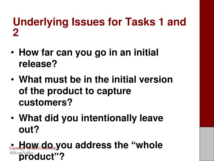 Underlying issues for tasks 1 and 2