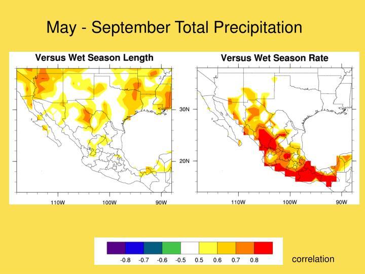 May - September Total Precipitation