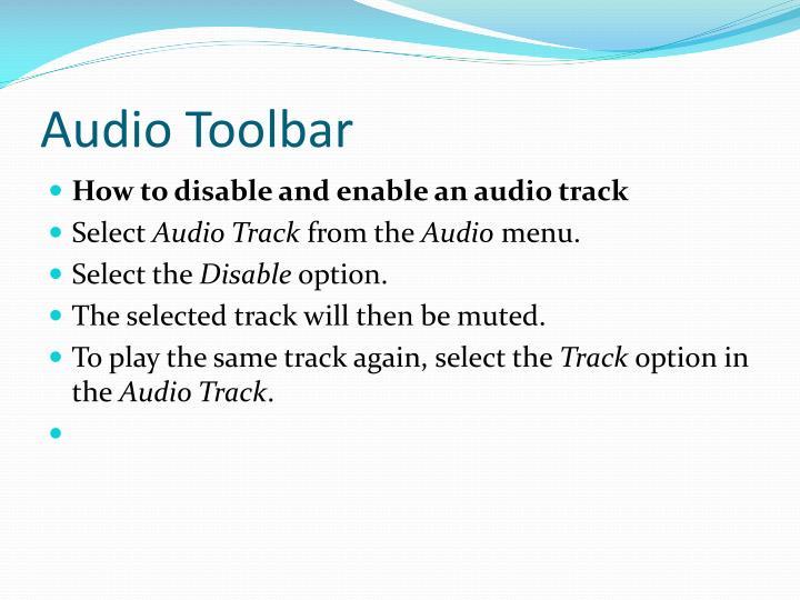 Audio Toolbar