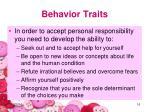 behavior traits