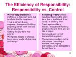the efficiency of responsibility responsibility vs control