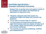 hartfields specification example individual outcomes