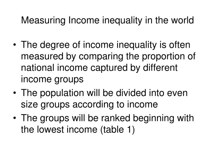 Measuring Income inequality in the world