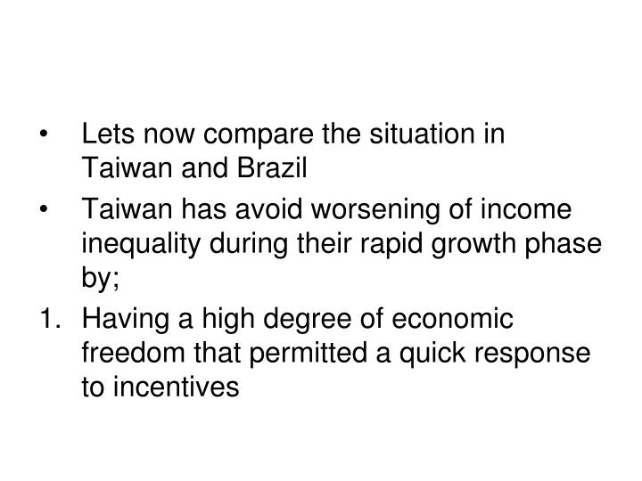 Lets now compare the situation in Taiwan and Brazil