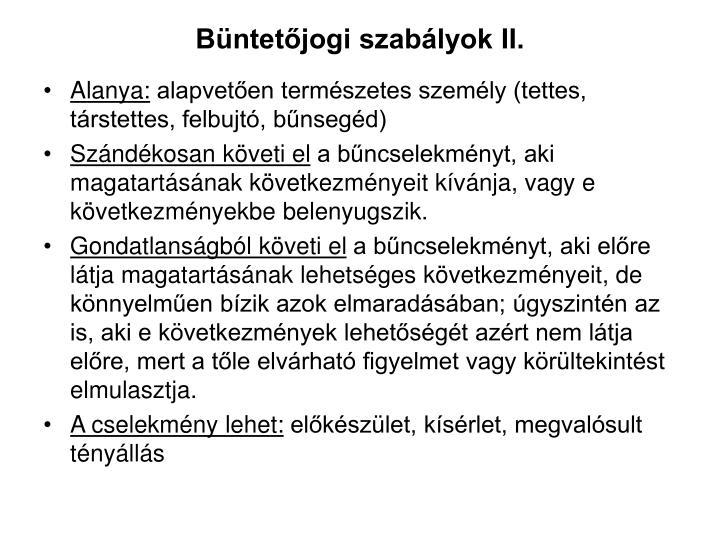 Büntetőjogi szabályok II.