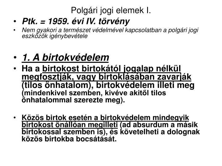 Polgári jogi elemek I.