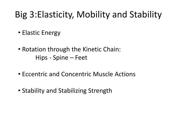 Big 3:Elasticity, Mobility and Stability