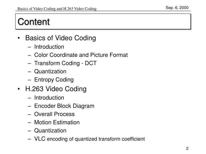 Basics Of Video Coding And H263 Codingcontent: H 263 Block Diagram At Johnprice.co