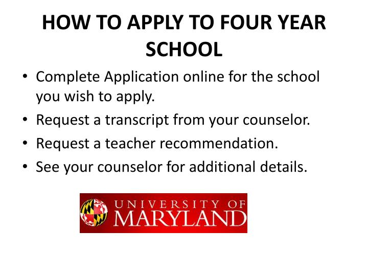 HOW TO APPLY TO FOUR YEAR SCHOOL