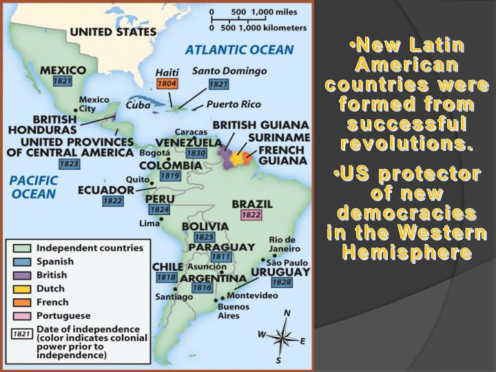 New Latin American countries were formed from successful revolutions.
