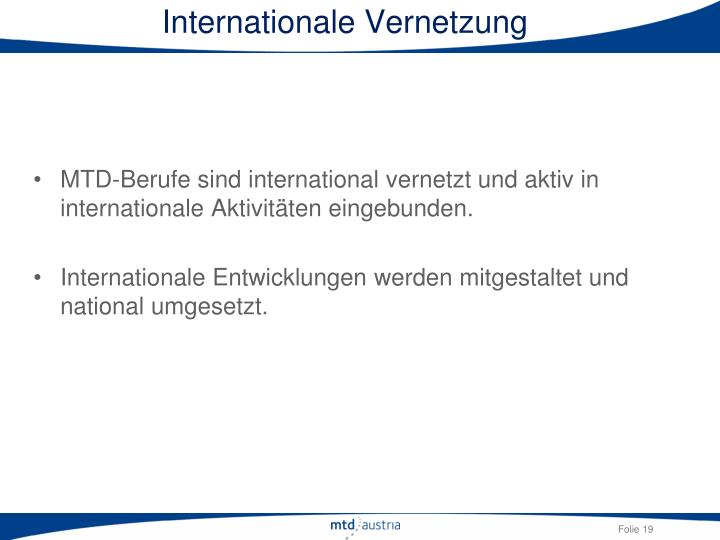 Internationale Vernetzung