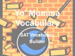 yo momma vocabulary