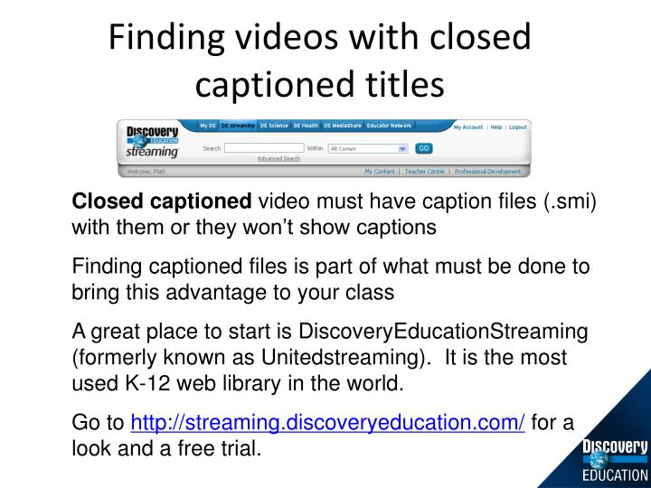 Finding videos with closed captioned titles