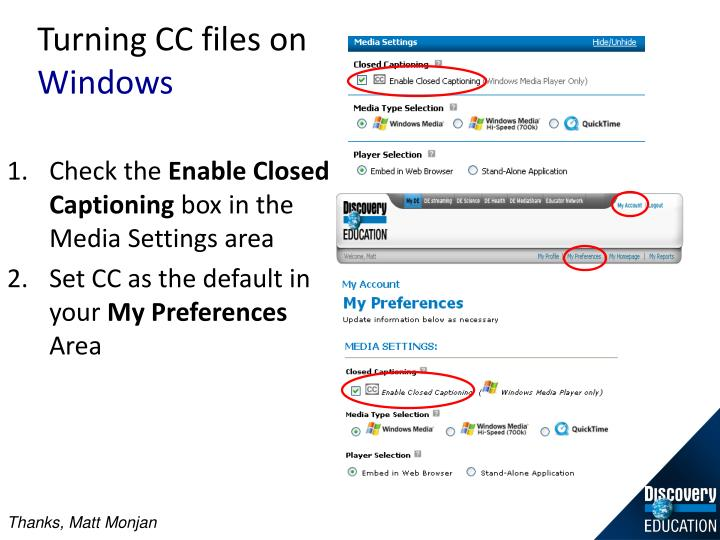 Turning CC files on