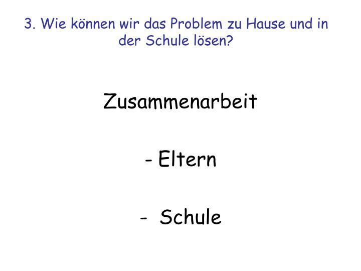 3. Wie können wir das Problem zu Hause und in der Schule lösen?