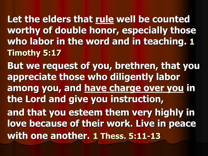 Let the elders that