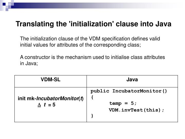 Translating the 'initialization' clause into Java