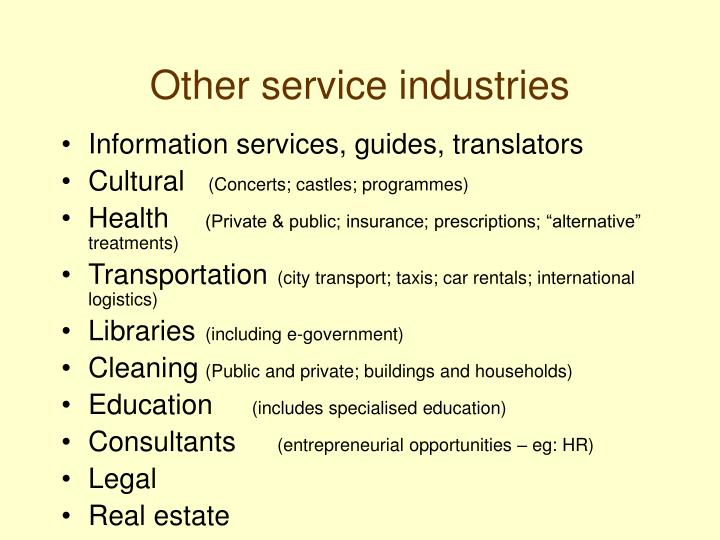 Other service industries