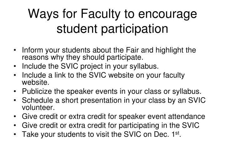 Ways for Faculty to encourage student participation