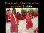 people who follow buddhism are called buddhist