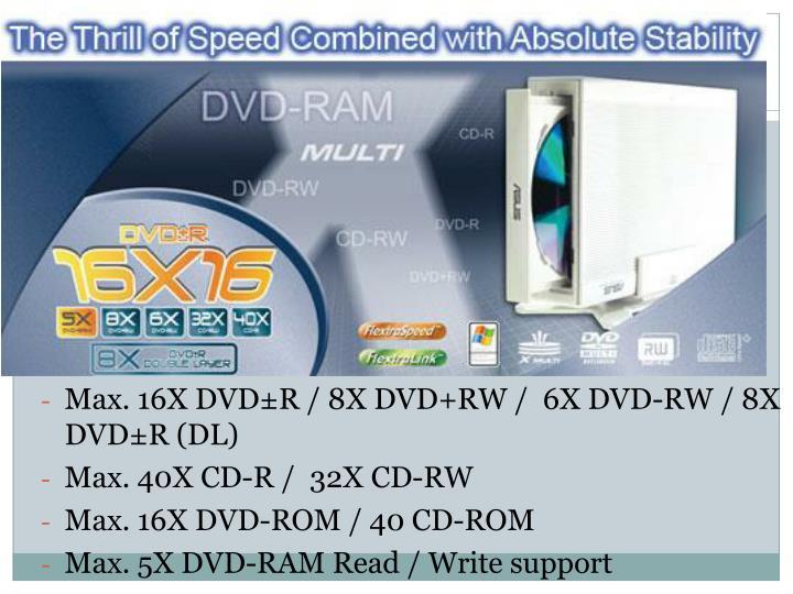 Max. 16X DVD±R / 8X DVD+RW /  6X DVD-RW / 8X DVD±R (DL)