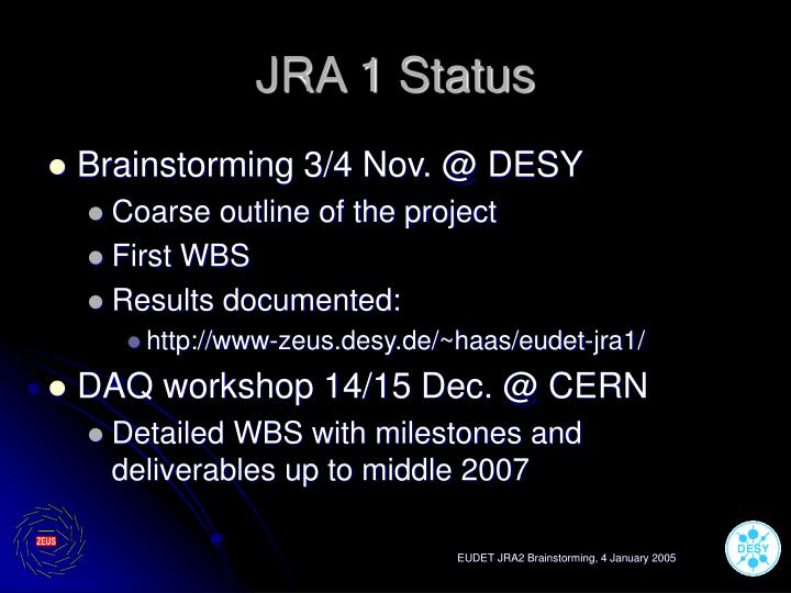 Jra 1 status