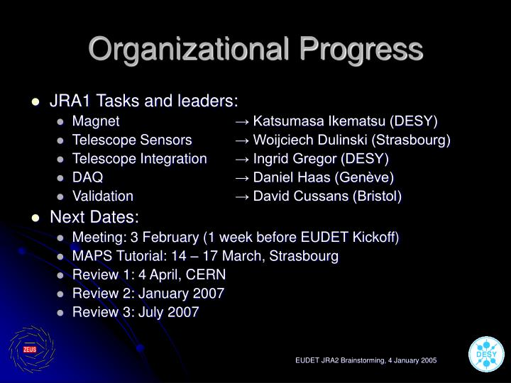 Organizational progress